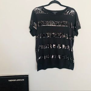 J. Crew Collection Black Sequin Striped Top
